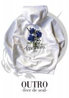 OUTRO-feer de seal- Blue Rose Back Zip Hoodie WHT