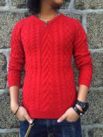 FLASHBACK Normal V-Neck Cable Knit Sweater