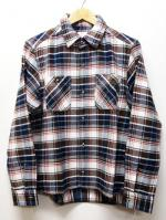 Heavy Twill Check Shirts-WHITE-