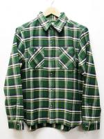 Heavy Twill Check Shirts-GREEN-