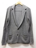 Knit Tailor Jacket-GRAY-
