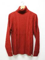 Turtleneck Knit Sawn-RED-