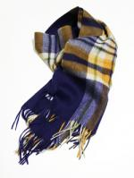 Wool Check Stole-NAVY-