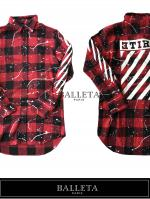 【国内初新規取扱BALLETA】Revers Logo Paint Check Shirts