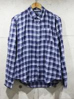Airy Check Shirts-NAVY-