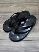 Tan Leather Thong Sandal-BLACK-
