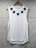 Star Neck Tank Top-WHITE-