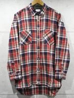Long Check Shirts-RED-