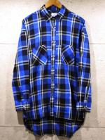 Long Check Shirts-BLUE-