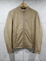 Suede Single Rider's Jacket-BEIGE-