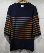 Panel Border H/S Knit Sawn-NAVY-