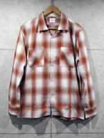 【先行予約1月入荷商品】Open Collar Ombre Check Shirts-RED-